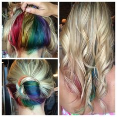 Dear fashionable girl, today we will give you an unexpected but modern idea hidden rainbow hair color . Hidden rainbow is a new trend of coloring hair Peekaboo Hair Colors, Hidden Rainbow Hair, Look 2015, Corte Y Color, My Hairstyle, Funky Hairstyles, Hair Images, Mermaid Hair, Hair Dos
