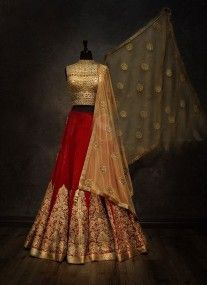 Red and golden embroidered bridal lehenga choli