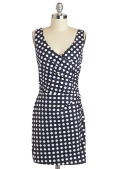 Tout de Suite Dress - Cotton, Short, Blue, White, Polka Dots, Ruching, Party, Sheath / Shift, Tank top (2 thick straps), V Neck, Pinup, Vintage Inspired, 50s