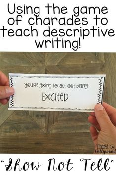 Show Not Tell - Descriptive Writing Mini Unit Writing Resources, Kids Writing, Teaching Writing, Writing Activities, Writing Help, Writing Ideas, Educational Activities, Writing Services, Third Grade Writing