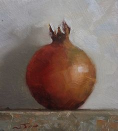 Original Oil Painting - Pomegranate- Contemporary Still Life Art - Nelson ravensdowne