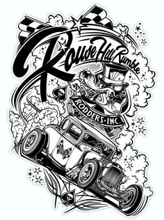 Logo Rodders Inc. Cool Car Drawings, Art Drawings, T Shirt Designs, Tattoo Designs, Banners, Oldschool, Garage Art, Graffiti Art, Graphic Design Illustration