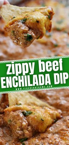 A quick and easy football party appetizer everyone will enjoy! With all the decadent flavor of beef enchiladas, this creamy, cheesy dip is the perfect game day appetizer for tortilla chips. Feel free� More Recipes Appetizers And Snacks, Appetizer Dips, Yummy Appetizers, Snack Recipes, Dip Recipes, Beef Enchilada Dip, Beef Enchiladas, Easy Delicious Recipes, Simple Recipes