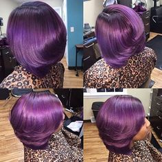STYLIST FEATURE| Gorgeous #haircolor on this #silkpress styled by #DatyonOH stylist @_laurenthestylist_ She took her client from #greenhair to #purplepassion #voiceofhair ========================= Go to VoiceOfHair.com ========================= Find hairstyles and hair tips! =========================