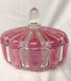 ANCHOR HOCKING GLASS 2092 RUBY FLASH CANDY DISH BOX & LID CLEAR & RUBY
