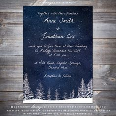 Winter Wonderland Snow Wedding Invitation, Starry Night Sky Wedding Invitation, Pine Trees Wedding Invitation, Winter Forest Wedding Invitation, Winter Landscape Wedding Invitation, Winter Outdoor Wedding Invitation, Navy Blue Wedding Invitation, Frost Ice Snow Wedding Invitation by Soumya's Invitations