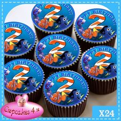 2ND BIRTHDAY FINDING NEMO 24 CUPCAKES EDIBLE PREMIUM RICE PAPER CC0232