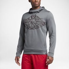 Jordan Wings Men's Pullover Basketball Hoodie, by Nike Size Small (Grey) - Clearance Sale