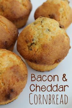 Bacon tastes great in just about anything, right? Try adding bacon and cheddar to your cornbread muffins. They taste amazing! Try this Bacon Cheddar Cornbread Recipe soon. Easy Cornbread Recipe, Cornbread Muffins, Bacon Cornbread, Corn Muffins, Bread Mix, Bread Soup, Yeast Bread, Best Food Ever, Love Food