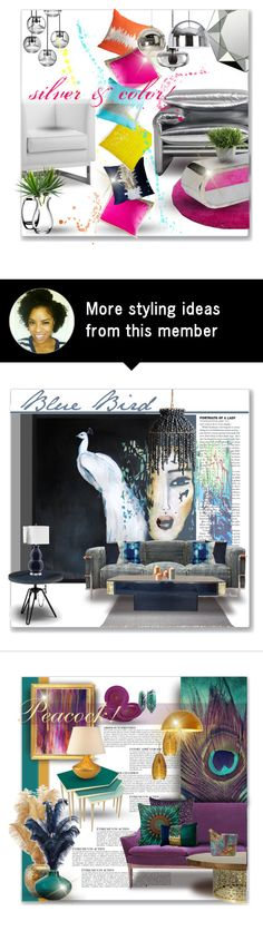 """""""Silver & Color!"""" by designsbylea on Polyvore featuring interior, interiors, interior design, home, home decor, interior decorating, abcDNA, Cassina, TOM TAILOR and Dot & Bo"""