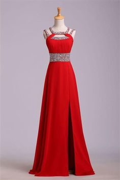 Customized Trendy Long A-line Prom Dresses, Red Sleeveless With Split-front Split Prom Dresses