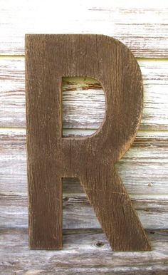 "Large Decorative Barn Wood Letters- Painted Distressed Rustic Nursery Wall Letters, Custom Made to Order 20"". $65.00, via Etsy."