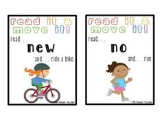 read it and move it! #kindergarten #dolch, #tricky words, color words, and number words.