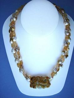 Twinkling Golden Dragon, Baroque Pearl, and Imperial Topaz Necklace #jade #jewelry