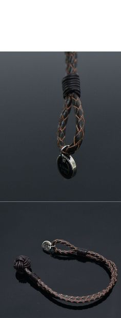 Accessories :: Double Leather Braided Circle Charm-Bracelet 186 - Mens Fashion Clothing For An Attractive Guy Look
