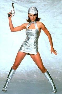 tin+foil+beanie | Carantoc said... Elizabeth Hurley, Bishoujo Statue, Pin Up, Botas Sexy, Space Fashion, Space Girl, Retro Futurism, Celebs, Celebrities