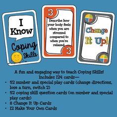 Coping Skills Card Game by Carol Miller -The Middle School Counselor Middle School Counselor, School Counseling, Group Counseling, Technology Posters, Digital Technology, Counseling Activities, Therapy Activities, Coping Skills, Social Skills