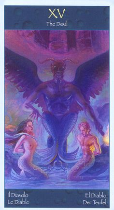 The Devil - Mermaids Tarot - learn to live with your shadow. Acknowledge the fears of your ego