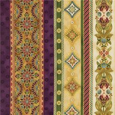 flower stripes fabric with gold by Robert Kaufman USA purple