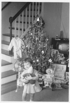 Christmas 1950- We never had our Santa presents wrapped up. We'd come down the stairs and see our gifts. 1960's-early !970's.