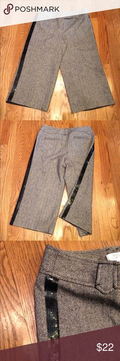 """Ann Taylor LOFT Wool Cropped pants Marisa Wool/Silk Blend Cropped/Capri Tuxedo Pants w/ black sequin stripe lining the outer side of each leg. Fully lined. Size 8. Measures: 16"""" across waist & 20"""" inseam. Pre owned. Like new condition. Ann Taylor LOFT Pants Capris"""