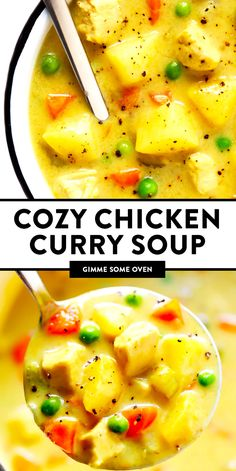 Cozy Chicken Curry Soup recipe is made with tender chicken, hearty potatoes and veggies, and the most delicious Indian creamy coconut curry broth. It's the perfect easy dinner recipe during the wintertime, and so comforting and delicious! Chicken Curry Soup, Chicken Soup Recipes, Chicken Soup With Potatoes, Soups With Chicken Broth, Hearty Chicken Soup, Hearty Soup Recipes, Salad Chicken, Oven Chicken, Hamburger Recipes