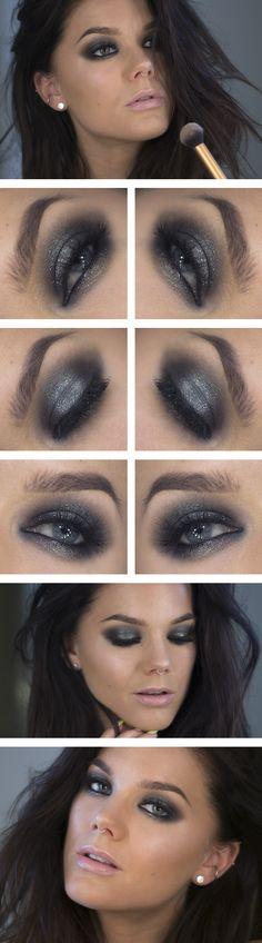 Sexy smoke eyes en grises y plateados con un toque de brillo.
