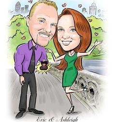 Romantic Valentine's Day Wedding proposal caricature by devhunt1