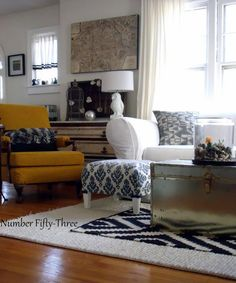 Number Fifty-Three: Adding Pattern & Texture in the Living Room Ottoman Inspiration, Living Room Inspiration, Living On A Budget, Fabric Ottoman, Textures Patterns, Living Area, Sweet Home, Interior Design, Decorating
