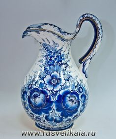 Jug with blue flowers on it