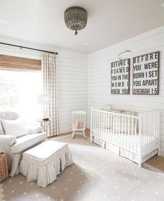 Neutral nursery design with modern farmhouse style featuring shiplap walls - Gender Neutral Nursery Ideas & Decor