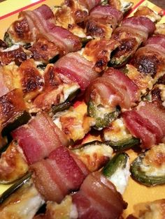 Rally Jalapenos Poppers my version is cream cheese dry hidden valley ranch dressing and wrap with bacon