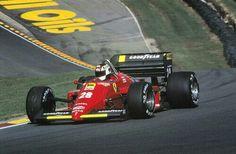 Stefan Johansson, Ferrari, #28, (RET-electrical) European Grand Prix, Brands Hatch, Kent, Uk, 1985.