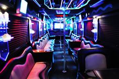 Interior of 45 Passenger Party bus Wedding Limo Service, Hummer Limo, Luxury Car Rental, Cheap Wedding Venues, Excursion, Party Bus, Wedding Entertainment, Entertainment Ideas, Luxury Wedding Invitations