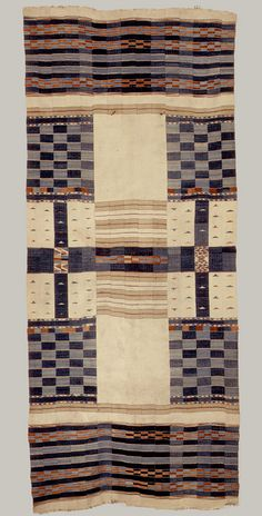 Africa | Textile Blanket, Chieftan, 19th century | Fulani people; Mali or Ghana | Cotton, wool