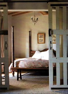Bedroom:Outstanding And Original Barn Bedroom Design Ideas Vintage Wood Canopy Bed Bedroom Luxury Bedside Furniture Ideas Sets Decorating Paint Colors Wallpaper Interior Lighting Decor Design Barn Bedrooms, Home Bedroom, Master Bedroom, Bedroom Decor, Tuscan Bedroom, Bedroom Ideas, Bedroom Simple, Bedroom Rustic, Design Bedroom