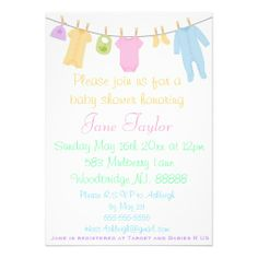 Little Clothes Baby Shower Invitations