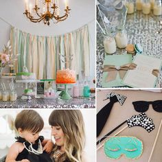 """This Breakfast at Tiffany's-inspired party for 1-year-old Riley manages to be both girlie and chic, much like style icon Audrey Hepburn herself. """"I wanted something that was ultimately fun and glamorous, and nothing was better than Breakfast at Tiffany's!"""" says Riley's mom, Cassidy Freitas. """"Also, the theme would combine two of my all-time favorite things: diamonds and breakfast. I felt the theme had been done before, and I wanted to change it up and make it a little more youthful, so we went with the color scheme of mint, peach, and silver instead of the traditional Tiffany blue."""" A stylish DIY photo booth, a yummy breakfast buffet, and one scrumptious birthday girl dressed as Holly Golightly add to the appeal of this simply stunning party.  Source: En Point Photography"""