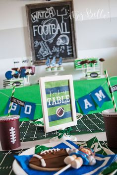 I set out to create a unique and fun Football party that even the little fans could enjoy, and our Li'l Rookie's Superbowl Bash was a hit with kids of all ages.  The Hand Drawn Chalkboard Print framed with a rustic wooden frame added a bit of contrast to the bold green covering the desert table and added a touch of old school Football, when plays were written out on the chalk boards. Cup wraps were designed to look [...]