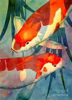 Koi Love Painting by Robert Hooper - Koi Love Fine Art Prints and Posters for Sale