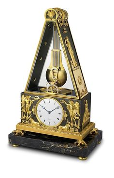 The #breguet No. 449 - this pyramid clock, with decorative gilt-bronze mounts and enamel dial, is an example of another Breguet innovation, the so-called sympathique clock, with a system that is essentially a combination of clock and watch. Read more at: http://www.watchtime.com/wristwatch-industry-news/industry/highlights-from-the-breguet-art-and-innovation-in-watchmaking-exhibit/ #watchtime #horology #watchgeek