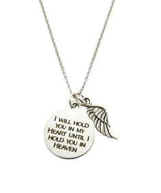 Keep the reminder of a loved one close to the heart with this silvertone pendant accompanied by an inspirational message.Full graphic text: I will hold you in my heart until I hold you in heavenChain: LLobster claw claspStainless steel Heart Pendant Necklace, Dog Tag Necklace, I Miss My Family, Hold You, Kids Branding, Inspirational Message, Necklace Designs, Fashion Jewelry, Jewelry Design