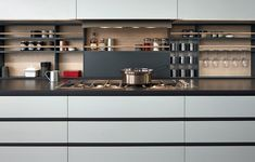 Poliform Kitchen, Varenna Grey inside cupboards Colours - Elm (wood finish) not as shown Grey 60 Ghiaccio