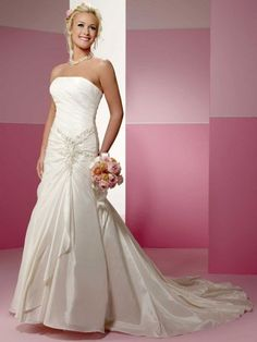 A-line taffeta sleeveless bridal gown with lace-up back - Wedding Inspirations