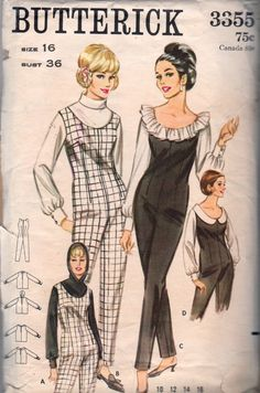 Butterick 3355 1960s Misses Jumpsuit with low scoop neck and blouse set ruffled, turtleneck, hooded, shaped collar womens vintage sewing pattern   by mbchills