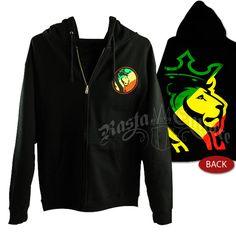 #Rasta Striped Lion Logo Black Hoodie - Men's #RastaEmpire