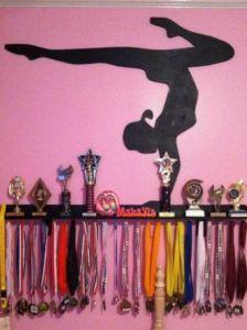 Gymnastics trophy shelf