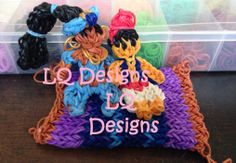 JASMINE and ALADIN. Modified and loomed by Lisa Quagliariello of LQ Designs on the Rainbow Loom. Based on designs by MarloomZ Creations and PG's Loomacy. Jasmine tutorial available on YouTube. See another Pin. (Rainbow Loom FB page)
