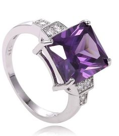 Silver Plated Purple Cubic Zirconia Ring