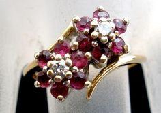 14k Plumb Gold Ruby Diamond Size 5 Signed Lustrine Valentine Ring Vintage   eBay